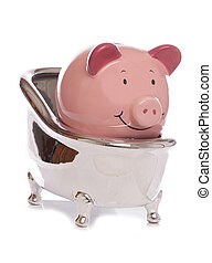 Piggybank in a bath