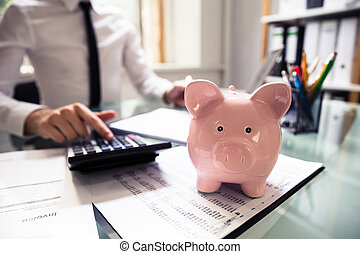 Piggybank In Front Of Businessperson Using Calculator