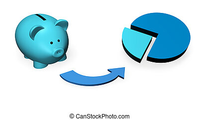 Investment fund, mutual fund concept with a money-box or piggybank and a pie chart.