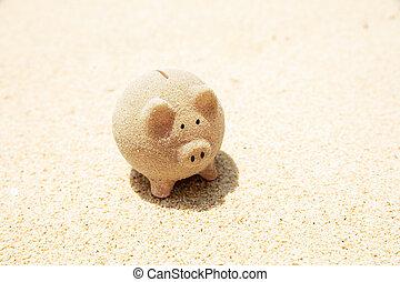 Piggybank Made With Sand On Beach