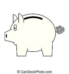 Piggybank money savings isolated in black and white