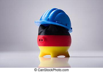 Piggybank Painted With German Flag Wearing Blue Hardhat