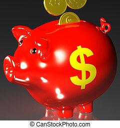 piggybank, pièces, américain, entrer, revenus, spectacles