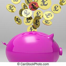 piggybank, pièces, grande-bretagne, entrer, investissements, spectacles