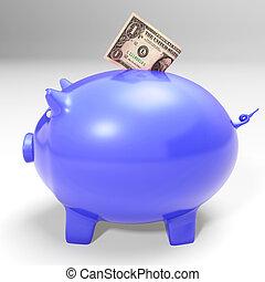 piggybank, projection, dollar, américain, économies, entrer