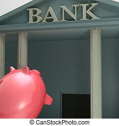 piggybank, projection, monétaire, ascenseur, entrer, banque