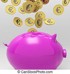 piggybank, projection, pièces, entrer, prêt, européen