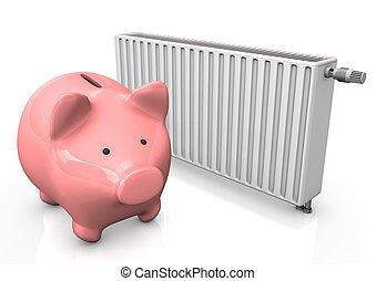 Piggybank Radiator - Pink piggy bank with radiator on the...