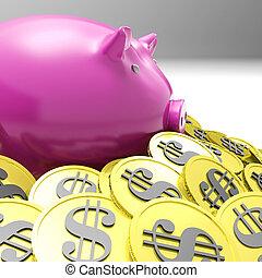 piggybank, richesse, entouré, projection, pièces, américain