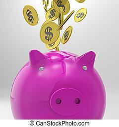 piggybank, richesse, pièces, américain, entrer, spectacles