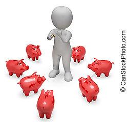 Piggybank Savings Represents Finances Wealth And Money 3d Rendering