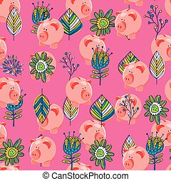 Piggybank and floral seamless pattern over pink background