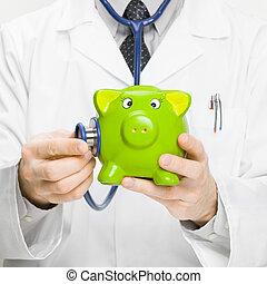 piggybank, stosunek, doktor, -, ręka, 1, stetoskop,...
