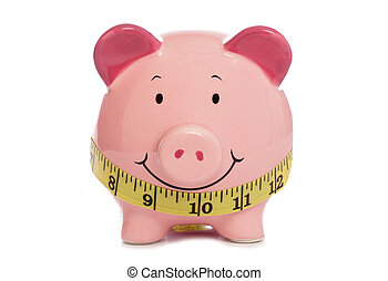 Piggybank with tape measure