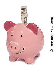 Piggybank with Us dollar money studio cutout
