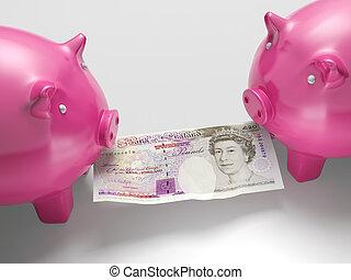 piggybanks, argent, sur, économie, combat, spectacles