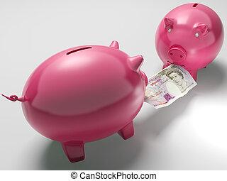 piggybanks, argent, sur, combat, décisions, investissement, spectacles