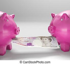 Piggybanks Eating Money Shows Shared Savings