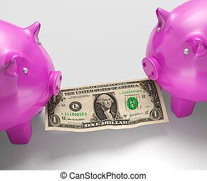 piggybanks, jedzenie pieniądze, pokaz, monetarny, opadnięci