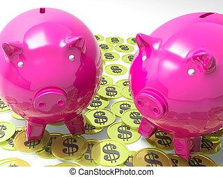 piggybanks, op, muntjes, optredens, amerikaan, inkomsten