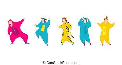 pigiama, festa., pigiama, amici, isolato, costume, felice