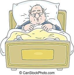 pigiama, occhiali, uomo grasso, in pausa, letto