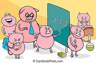 piglet cartoon characters at school - Cartoon Illustration...