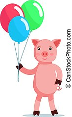 Piglet coming with balls