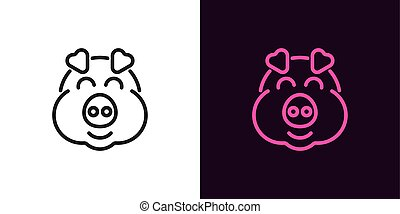 Piglet face with smile in outline style
