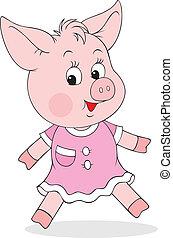 Piglet - little piglet wearing a pink dress