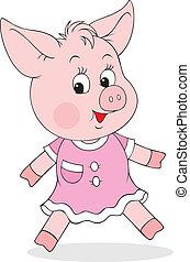 little piglet wearing a pink dress