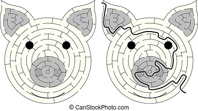 Piglet maze for kids with a solution in black and white