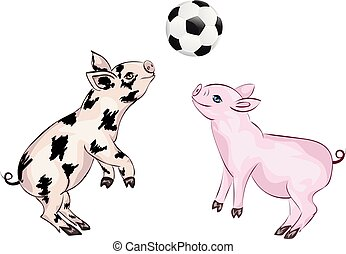 Piglet Plays Football - Cartoon cute and cheerful piglet...