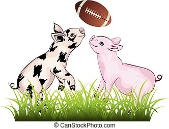 Piglet Plays Rugby - Cartoon cute and cheerful piglet with...