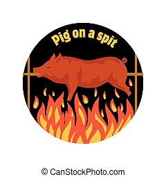 piglet., spit., pig., varken, het roosteren, grilled, pork.,...