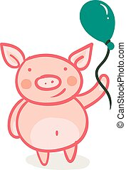 Piglet with a green balloon vector or color illustration