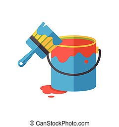 Pigment paint and brush flat icon