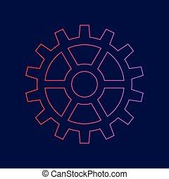 pignon bleu, gradient, signe., sombre, arrière-plan., couleurs, vector., violet, ligne, rouges, icône