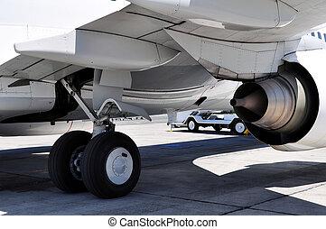 pignon moteur, jet, transportation:, détail, atterrissage, air