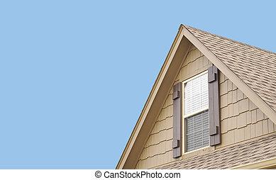 pignon, volets, fenêtre, toit