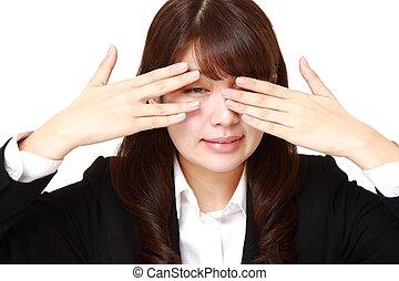 pigolio, lei, mantello, donna d'affari, dita, faccia, macchina fotografica, attraverso, mani