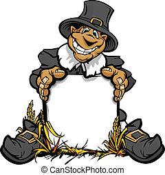 pigrim, thanksgiving, signe, vecteur, tenue, dessin animé,...