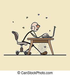 pigro, lavoro, cattivo, programmer.