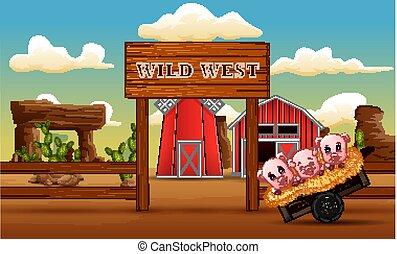 Pigs cartoon in front a farm gate wild west