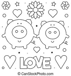 Pigs. Coloring page. Black and white vector illustration.