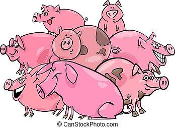 pigs farm animal cartoon characters group