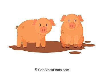 Pigs Farm Animals Closeup Vector Illustration
