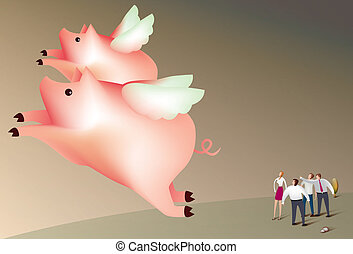 Pigs fly - Illustration of a team of business people...