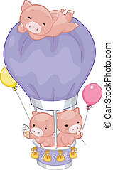 Pigs Hot Air Balloon - Illustration of Pigs in a Hot Air...