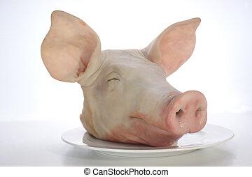 pig\'s, huvud på, a, tallrik, och, vit fond